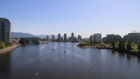 wide aerial - false creek science world Stock Video Footage