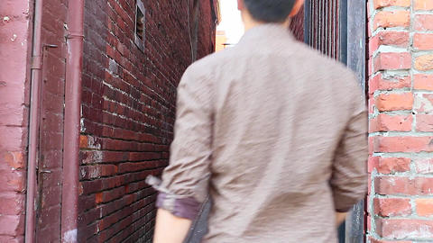 people walking in fan tan alley Stock Video Footage