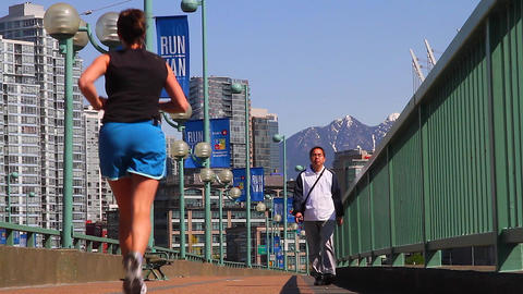 cambie bridge - people exercising Footage