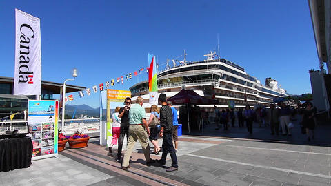 Canada Place - Huge Cruise Ship People Photographi stock footage
