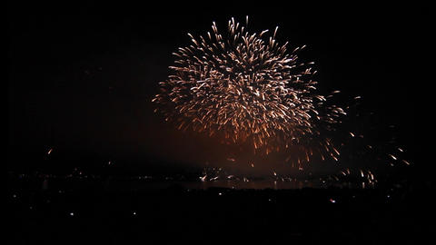 1min 37 secs - wide view english bay fireworks Stock Video Footage