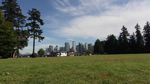 wide dolly shot - Vancouver skyline from Stanley p Footage
