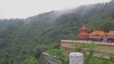 pan and tilt sanqing temple plum blossom lake Footage