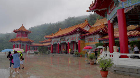 people posing for photo at sanqing temple Footage