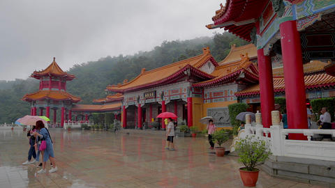 people posing for photo at sanqing temple Stock Video Footage