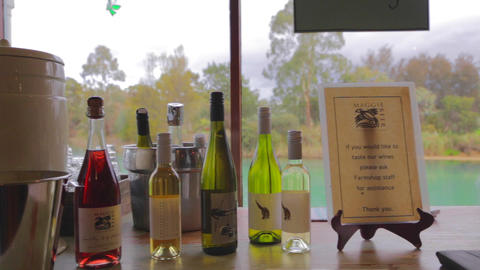 pan of a wine tasting station of a barossa vallet Stock Video Footage