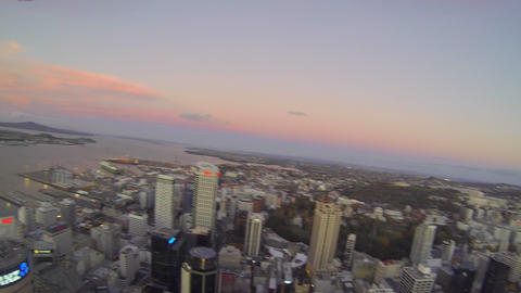 300m high aerial pan of sky tower and the auckland Footage
