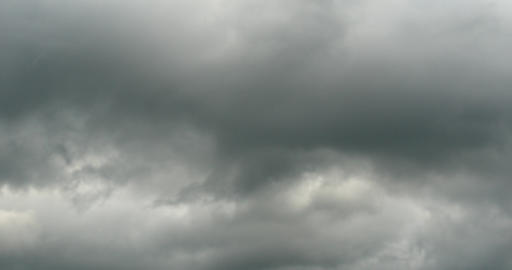 4k Panoramic Of Dark Altocumulus Clouds Smoke Slowly Flying In Cloudy Sky stock footage