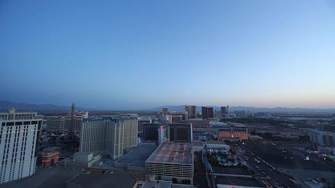 Wide Penthouse Early Evening Of Las Vegas Strip stock footage