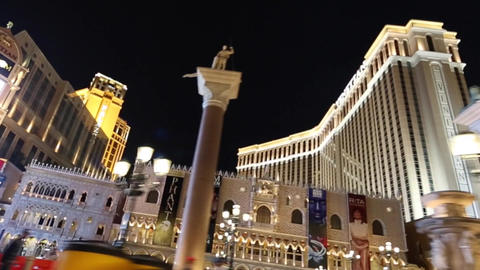 evening drive on las vegas trip of venetian hotel Footage