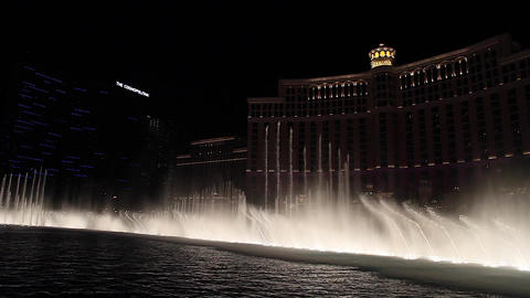 fountain show with of bellagio hotel Stock Video Footage