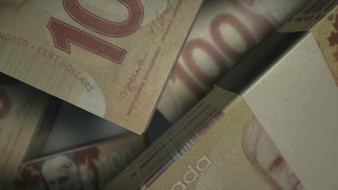canadian dollar notes scattered pile pan above Stock Video Footage