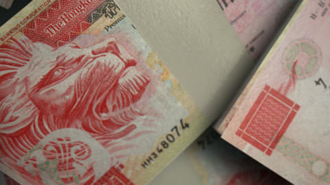hong kong dollar notes scattered pile pan above Animation