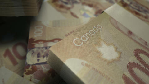 canadian dollar notes scattered pile pan across Animation