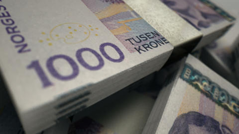 norwegian krono notes scattered pile pan across Stock Video Footage