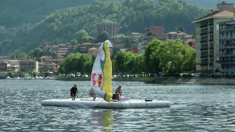 acrobatic paragliding synchro white yellow 32 (slo Footage