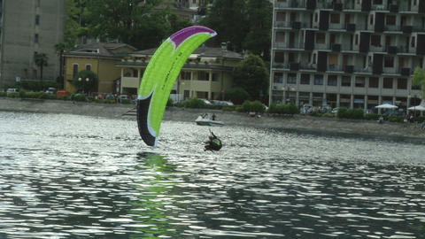 acrobatic paragliding synchro yellow green 37 Stock Video Footage