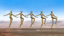 Manikins Dancing Can Can stock footage