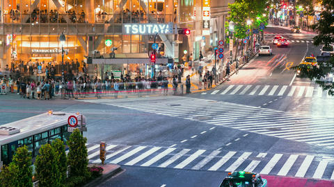 People and traffic time lapse in Shibuya, Tokyo Stock Video Footage