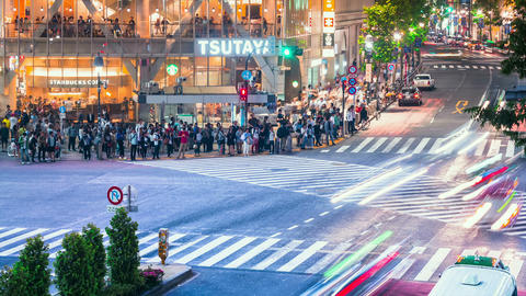 People and traffic time lapse in Shibuya, Tokyo Footage