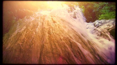 Retro look wild creek, slow motion Stock Video Footage