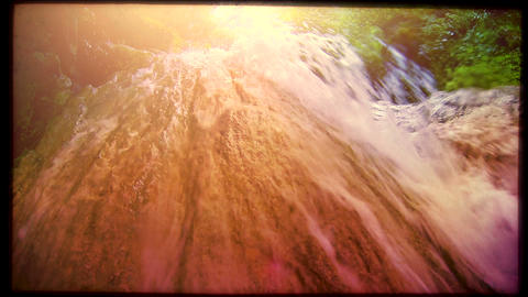 Retro look wild creek, slow motion Stock Video Footage