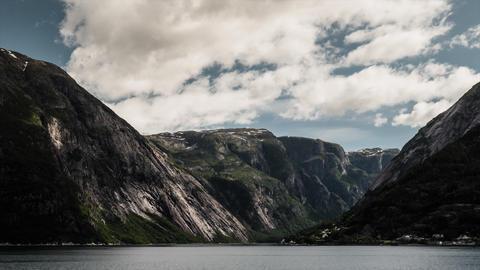 Landscape Timelapse, Hardangerfjorden, Norway Stock Video Footage