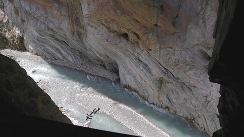 low high tilt - liwu river and rockcliffs from ins Stock Video Footage