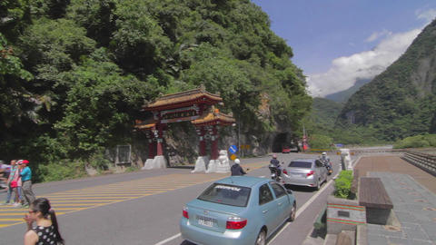 pan The taroko gorge front gate Footage