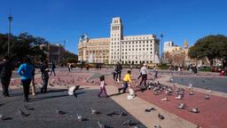Catalonia Square in Barcelona Footage