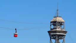 Port Vell Aerial Tramway in Barcelona Footage