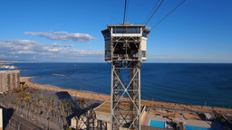 Port Vell Aerial Tramway in Barcelona Stock Video Footage