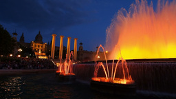 Magic Fountains in Barcelona Footage
