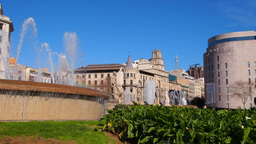 Catalonia Square in Barcelona Stock Video Footage
