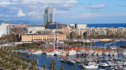 Port In Barcelona stock footage