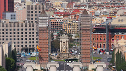 Placa Espanya in Barcelona Footage