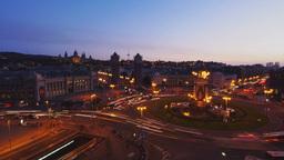 Night view of Placa Espanya in Barcelona Footage