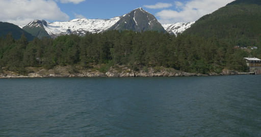 4K, Norway, Boat Trip along the coastline of a Fjo Footage