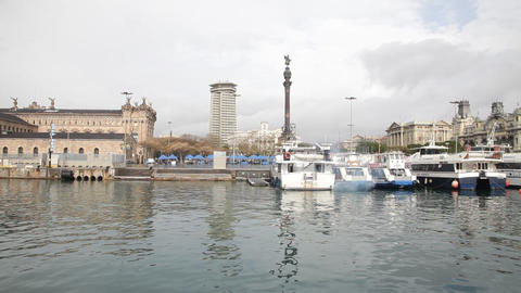 Barcelona old harbour Stock Video Footage