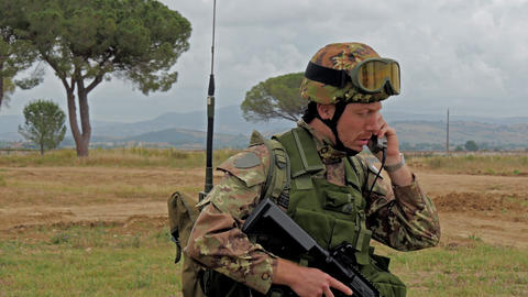 Italian Army. Military Exercise stock footage