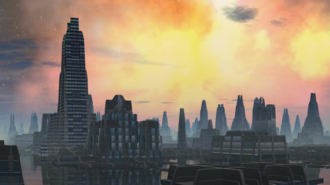 City aliens and bright nebula Stock Video Footage