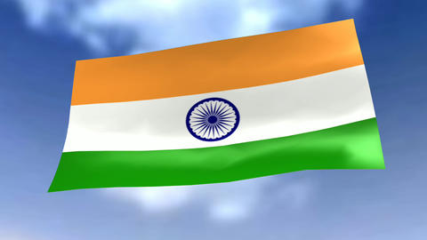 Animation of a Flag before blue Sky Animation