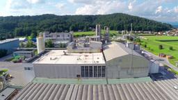 Lifting Over Industry Factory Aerial stock footage