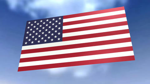 Animation of a Flag before blue Sky Stock Video Footage
