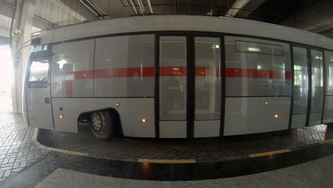 2.7K. Passenger bus parked at the Sharjah Internat Footage