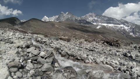 2.7K. Mountain river. Melting glacier Ngozumpa, Hi Footage