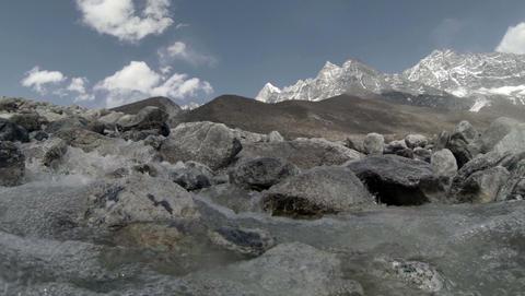 2.7K. Mountain river. Melting glacier Ngozumpa, Hi Stock Video Footage