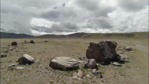 Aerial stock footage Ancient Stones in the Desert Stock Video Footage