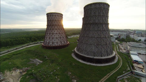 Aerial Footage Wide Angle Nuclear Cooling Towers A Stock Video Footage