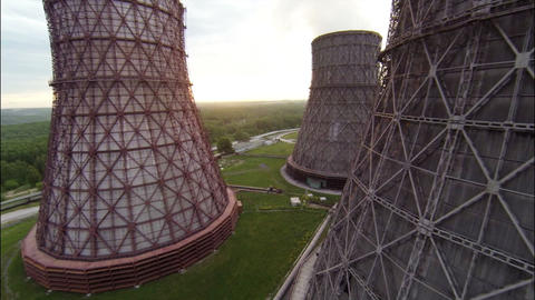 Aerial Footage Wide Angle Nuclear Cooling Towers A ビデオ